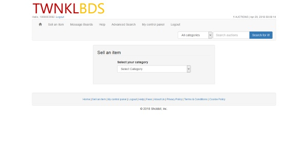 TWNKLBDS auction listing categories