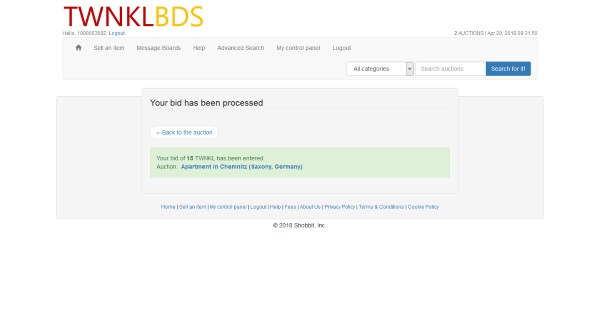 TWNKBDS place a bid confirmation
