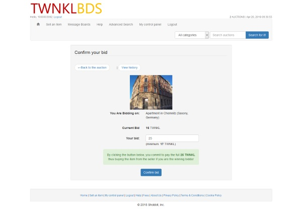 TWNKBDS place a bid