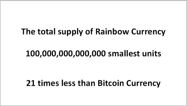 21 times less supply of Rainbow Currency than Bitcoin